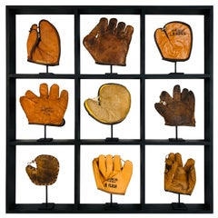 Set of Nine Rare Antique Small Children's Baseball Gloves in Custom Shadow Box