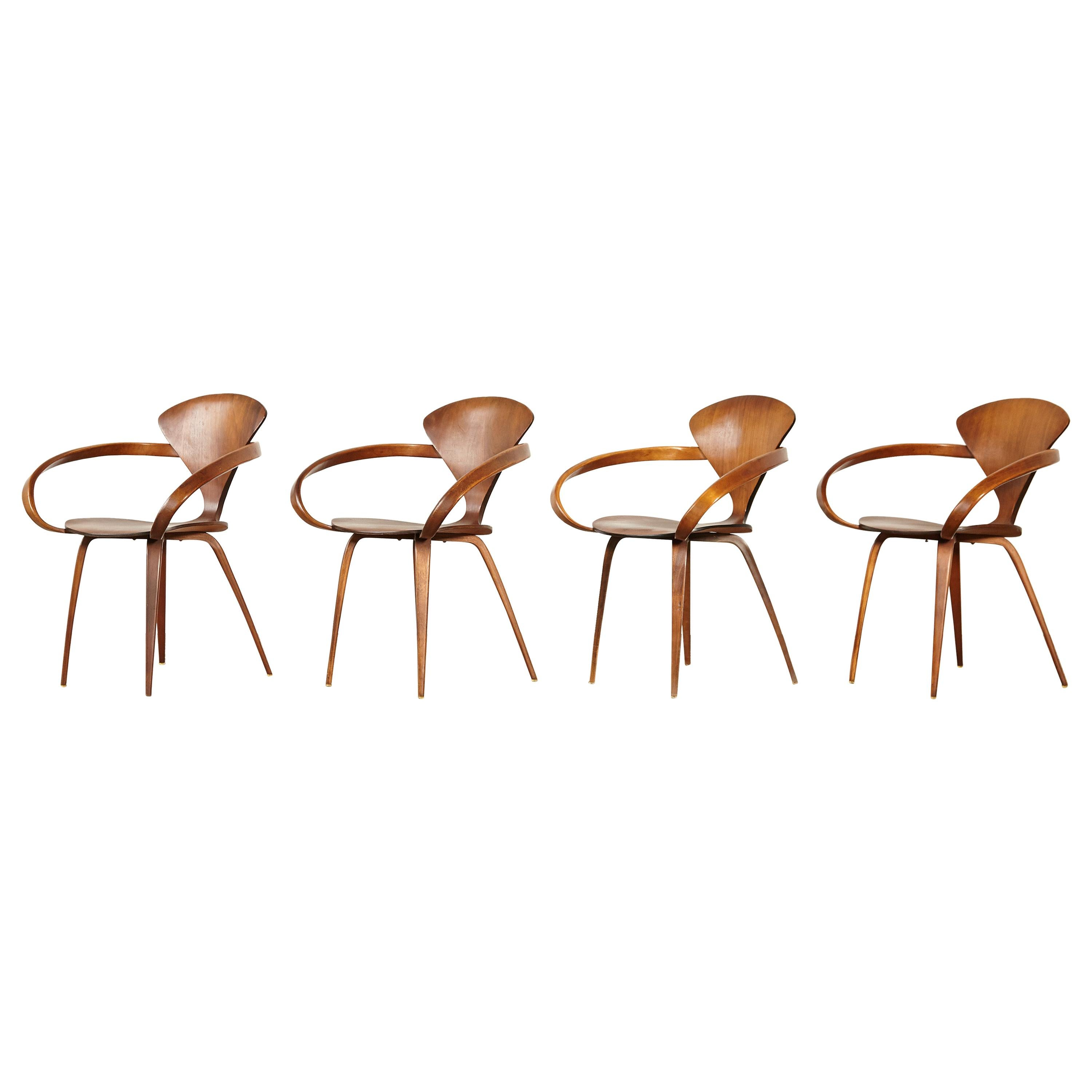 Set of Norman Cherner Pretzel Dining Chairs, Made by Plycraft, USA, 1960s