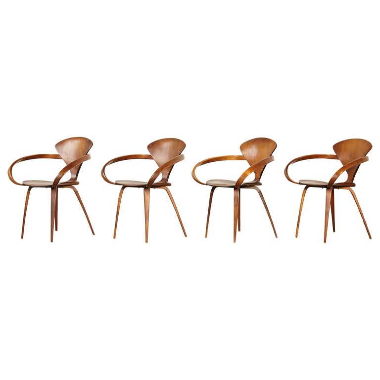 Set of Norman Cherner Pretzel Dining Chairs, Made by Plycraft, USA, 1960s For Sale