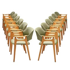 Set of Norwegian Dining Chairs with Soft Green Upholstery