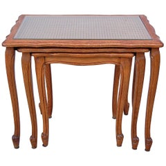 Set of Oak Nesting Tables with Cane Top, 1950s, France