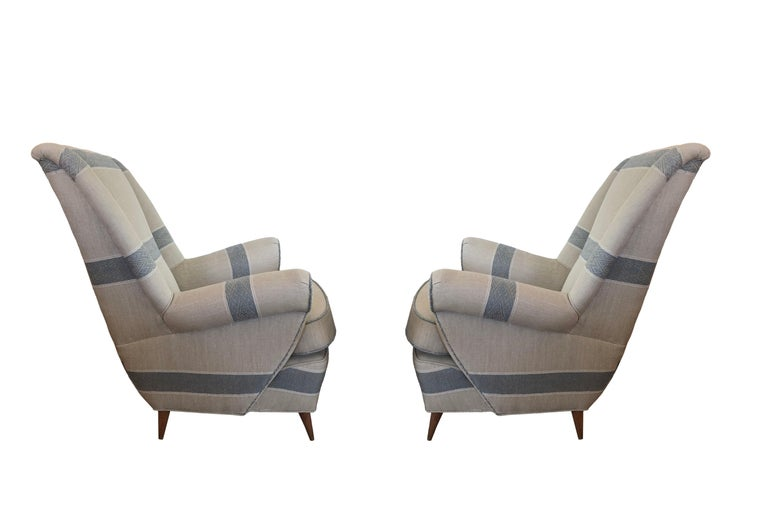 Upholstery Set of Chairs, Italy Mid-Century Modern For Sale