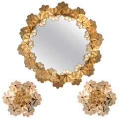 Set of One Backlit Mirror and Two Wall Sconces Flowers by Ernst Palme, 1970s
