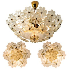 Set of One Flush and Two Wall Sconces Flowers by Ernst Palme, 1970s