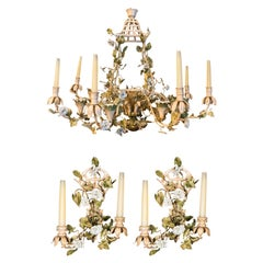 Set of One Pagoda Shaped Luster and Two Sconces, France, circa 1960