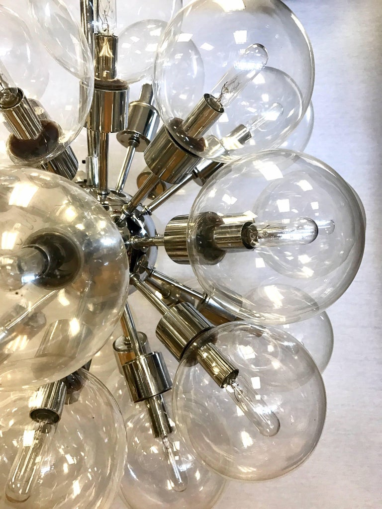 American Set of Original, 1960s Lightolier Matching Thirty Globe Sputnik Chandeliers For Sale