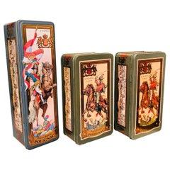 Set of Original Vintage Metal Containers of Cognac Hubert de Polignac