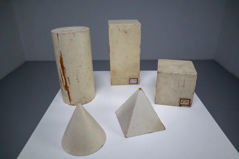 Set of Painted White Patinated Wooden Geometric Models/Sculptures, Vienna 1950s For Sale 2