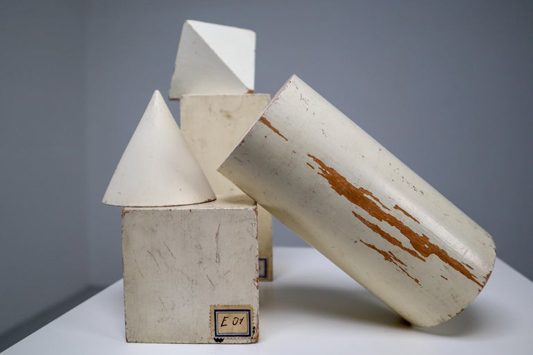 Set of Painted White Patinated Wooden Geometric Models/Sculptures, Vienna 1950s For Sale 3