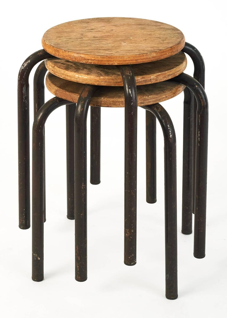 Mid-Century Modern Set of Wood and Metal Painter Stools in the Style of Jean Prouvé, France 1950's For Sale