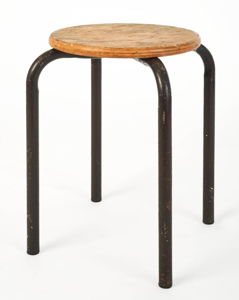 French Set of Wood and Metal Painter Stools in the Style of Jean Prouvé, France 1950's For Sale