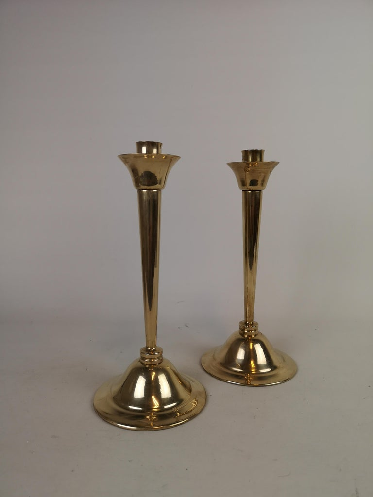 Scandinavian Modern Set of Pair of Candlestick and Tray in Brass by Lars Holmström Arvika, Sweden For Sale