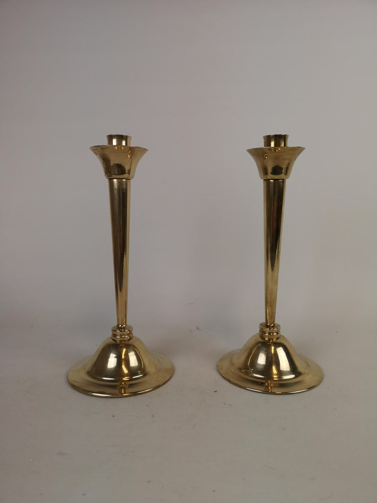 Swedish Set of Pair of Candlestick and Tray in Brass by Lars Holmström Arvika, Sweden For Sale