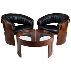 Set of Pair of Wood and Leather Armchairs with Coffee Table by Ricardo Blanco
