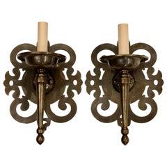 Set of Patinated Bronze Arabesque Sconces, Sold per Pair