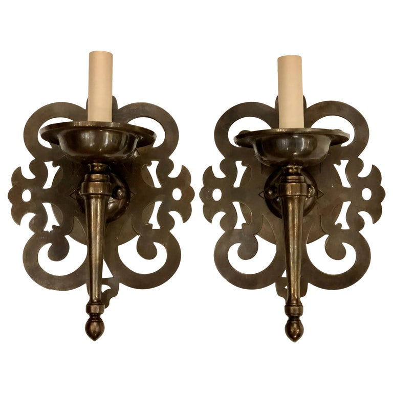 Set of Patinated Bronze Arabesque Sconces, Sold per Pair For Sale