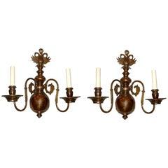 Set of Patinated Bronze Dutch Sconces, Sold Per Pair