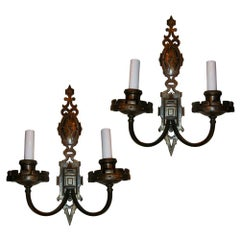 Set of Patinated Bronze English Sconces, Sold Per Pair