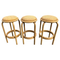Set of Paul Frankl Style Rattan Bar or Counter Stools