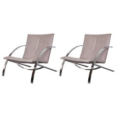 """Set of Paul Tuttle """"Arco"""" Leather Lounge Chairs for Strassle, Switzerland, 1976"""