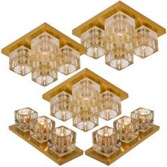 Set of Peill & Putzler Wall Light Ceiling Lights, Brass and Glass, 1970