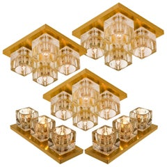 Set of Peill & Putzler Wall Light Ceiling Lights, Brass and Glass, 1970