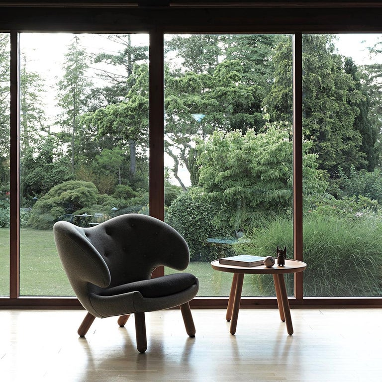 Danish Set of Pelican Chair in Wood and Fabric and Pelican Table by Finn Juhl For Sale