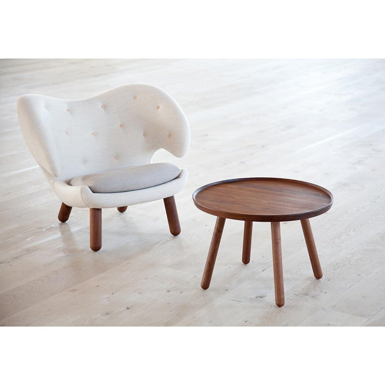 Contemporary Set of Pelican Chair in Wood and Fabric and Pelican Table by Finn Juhl For Sale