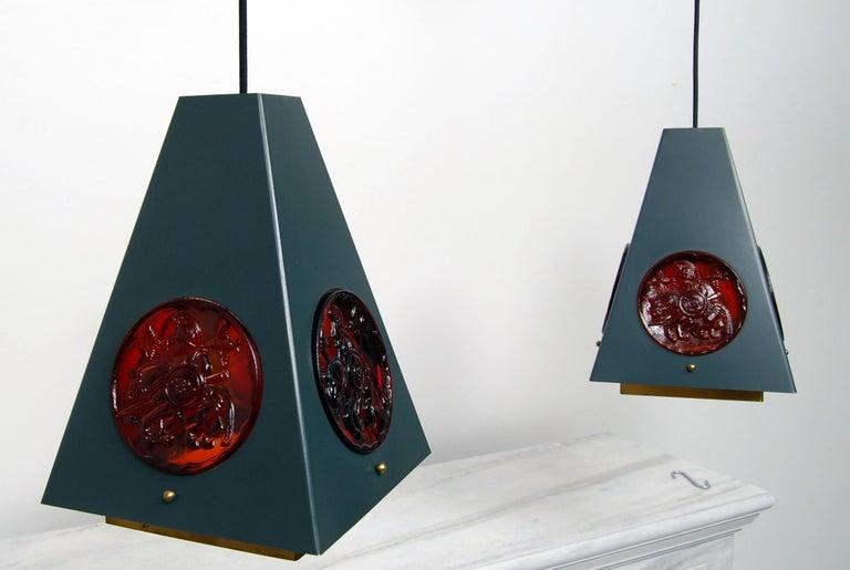 Scandinavian Modern Set of Pendant Lamps by Einar Bäckström & Erik Höglund, Sweden, 1960s  For Sale
