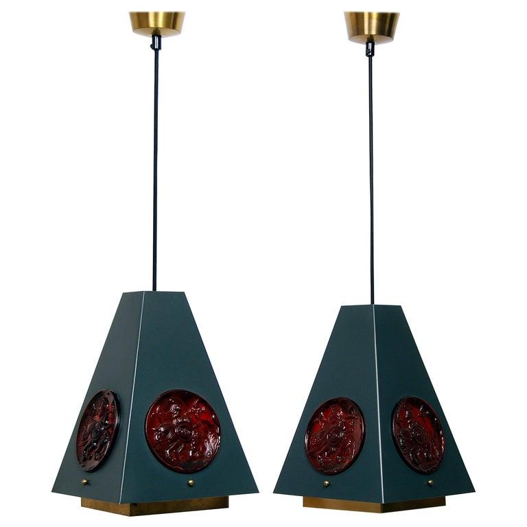 Set of Pendant Lamps by Einar Bäckström & Erik Höglund, Sweden, 1960s  For Sale