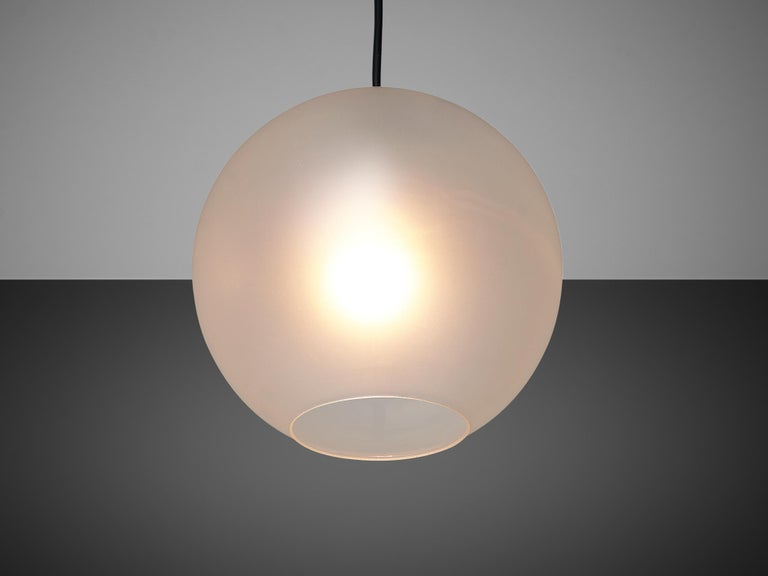 Set of Pendants with Frosted Glass Spheres For Sale 4