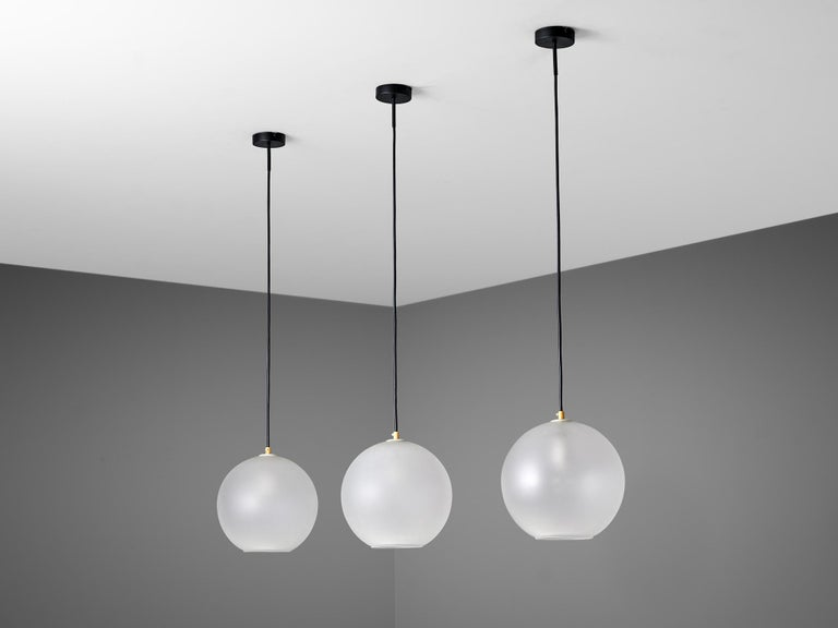 Mid-Century Modern Set of Pendants with Frosted Glass Spheres For Sale
