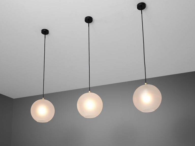 European Set of Pendants with Frosted Glass Spheres For Sale