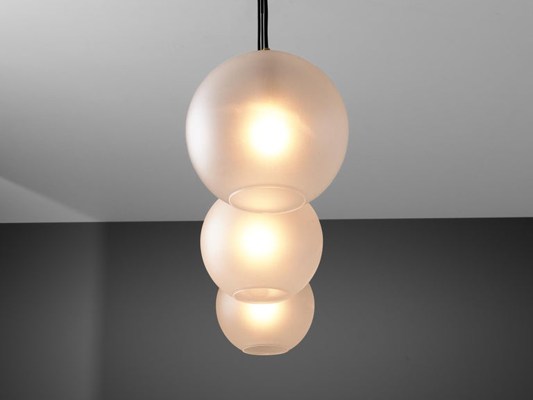 Late 20th Century Set of Pendants with Frosted Glass Spheres For Sale