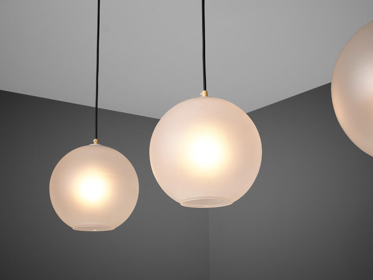 Set of Pendants with Frosted Glass Spheres For Sale 1