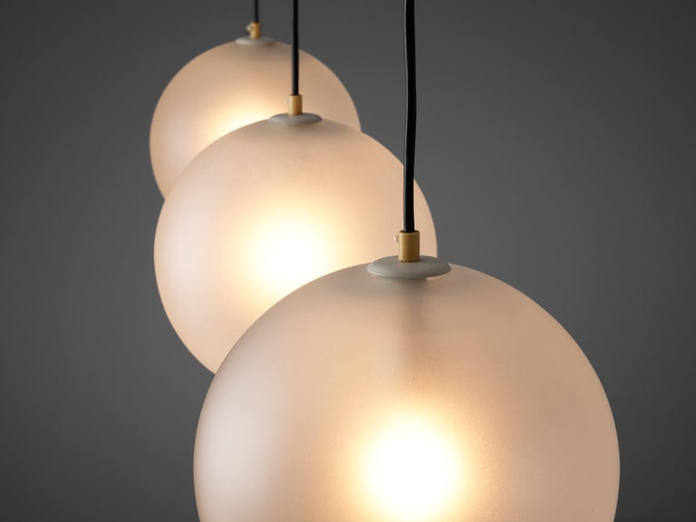 Set of Pendants with Frosted Glass Spheres For Sale 2