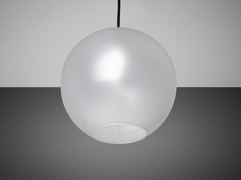 Set of Pendants with Frosted Glass Spheres For Sale 3