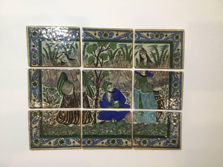 One of a kind Vintage set of nine lose Ceramic tile all hand-painted with garden motif, beautiful vines and flower border all around. The set could be use as for tabletop, or embedded to a wall as decor.