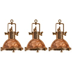 Set of Petite Copper and Brass Nautical Pendant Lights
