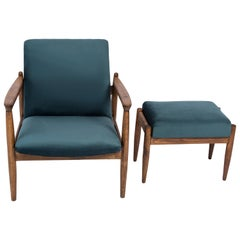 Set of Petrol Blue Vintage Armchair and Stool, Edmund Homa, 1960s