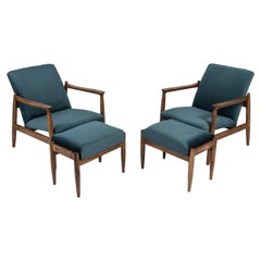 Set of Petrol Blue Vintage Armchairs and Stools, Edmund Homa, 1960s