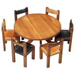 Set of Pierre Chapo Dining Table and Six Bicolour 'S11' Dining Chairs