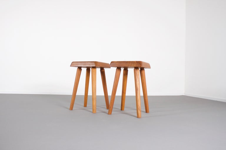 Two beautiful vintage S01 stools in very good condition.  Designed and manufactured by Pierre Chapo in the 1960s   These stools are made of solid elmwood. The design is simplistic and therefore the grain and natural character of the wood is nicely
