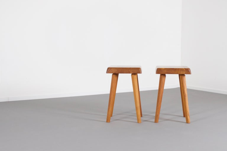 Mid-Century Modern Set of Pierre Chapo S01 Stools in Solid Elmwood, 1960s For Sale
