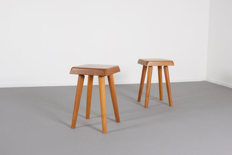 French Set of Pierre Chapo S01 Stools in Solid Elmwood, 1960s For Sale
