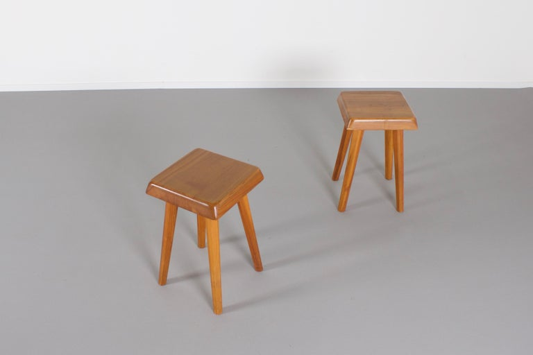 Set of Pierre Chapo S01 Stools in Solid Elmwood, 1960s In Good Condition For Sale In Echt, NL
