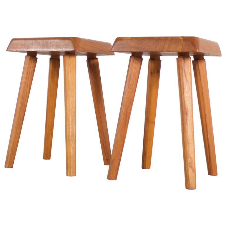 Set of Pierre Chapo S01 Stools in Solid Elmwood, 1960s For Sale