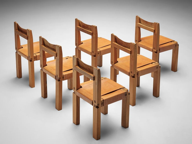 Mid-Century Modern Set of Pierre Chapo 'S11' Chairs in Cognac Leather For Sale