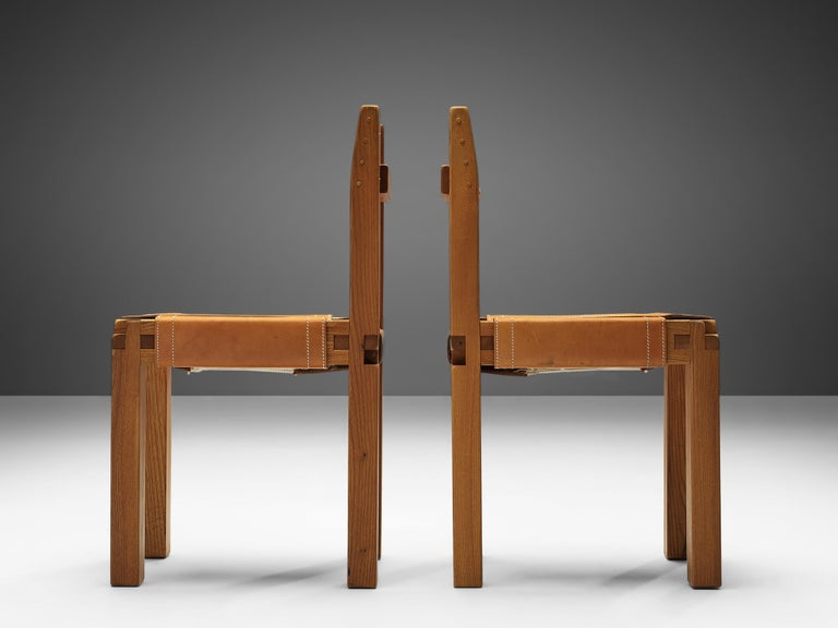 Mid-20th Century Set of Pierre Chapo 'S11' Chairs in Cognac Leather For Sale