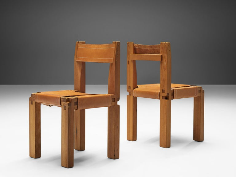 Set of Pierre Chapo 'S11' Chairs in Cognac Leather For Sale 1